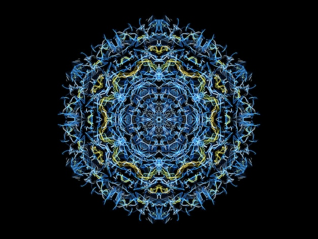 Blauwe en gele abstracte vlammandalasneeuwvlok, sier bloemen rond patroon