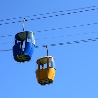 Blauwe en gele cabines van de passagierskabelmanier in de duidelijke hemel