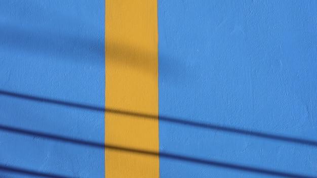 Blauwe en gele cementmuurtextuur