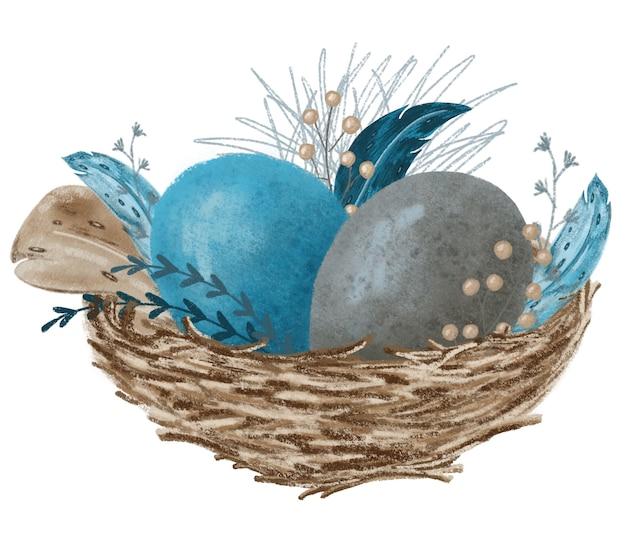 Blauwe en grijze eieren in rietjes nest met veren hand getekende illustratie geïsoleerd op wit