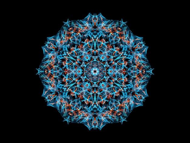 Blauwe en oranje abstracte vlammandalabloem, sier bloemen rond patroon