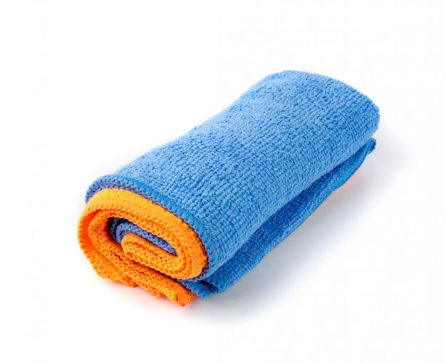 Blauwe en oranje microvezel poetsdoekrol