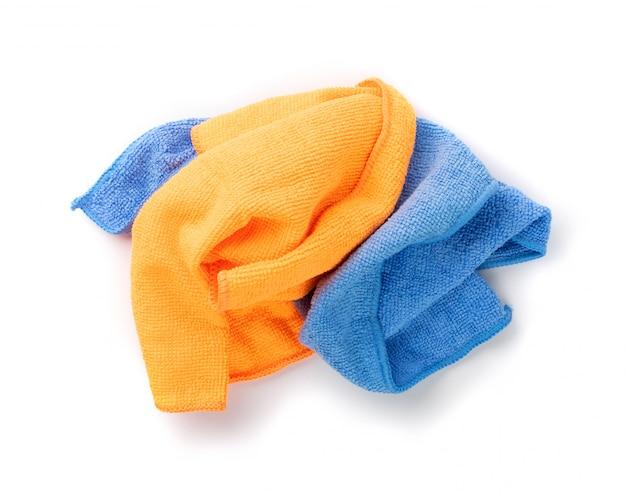 Blauwe en oranje microvezel reinigingsdoek geïsoleerd