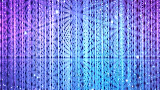 Blauwe en paarse achtergrond van spot led-lampen. disco en vakantie verlicht neon glanzend.