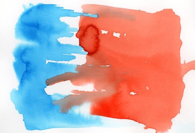 Blauwe en rode aquarel