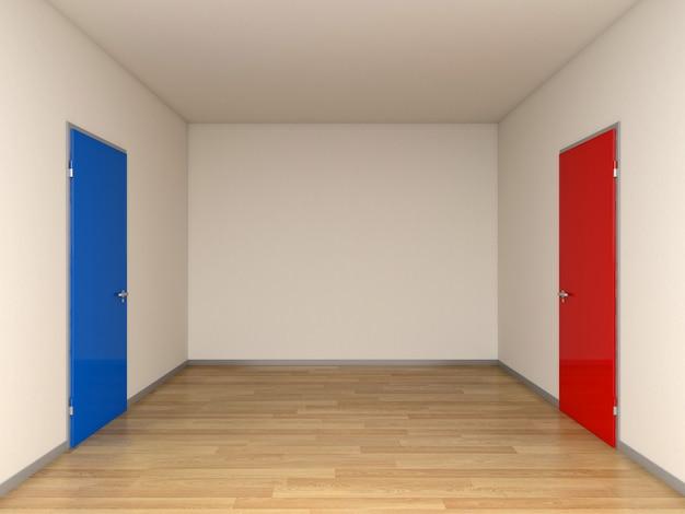 Blauwe en rode deuren