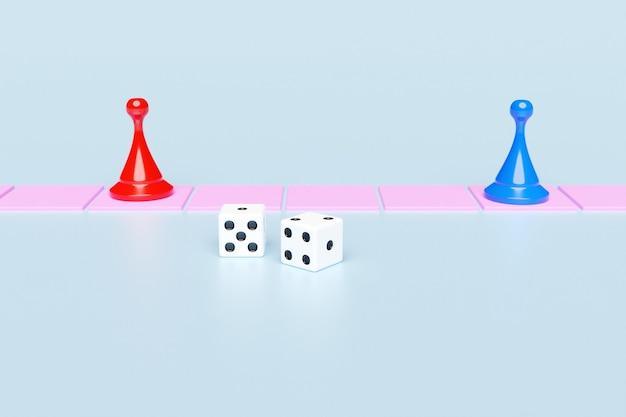 Blauwe en rode speelstukken en twee dobbelstenen entertainment home games voor het hele gezin