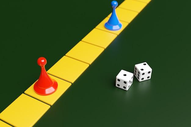 Blauwe en rode speelstukken en twee dobbelstenen: entertainment, thuisspellen voor het hele gezin, bordspellenconcept. bordspel.