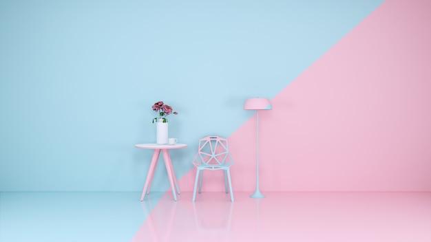 Blauwe en roze kamer