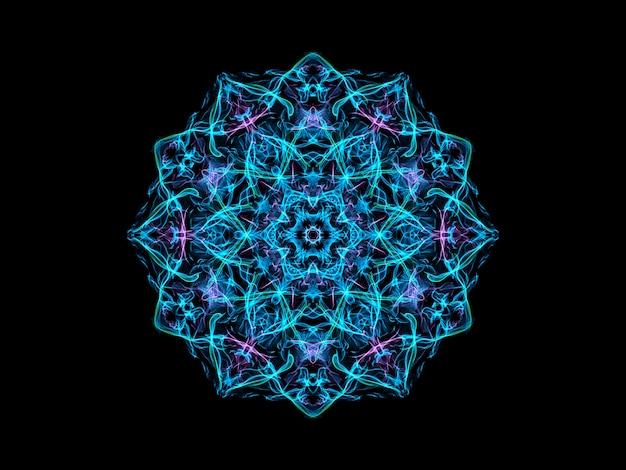 Blauwe en violette abstracte sneeuwvlok van vlammandala