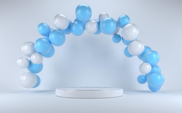 Blauwe en witte ballon in een wit interieur rond een wit podium.