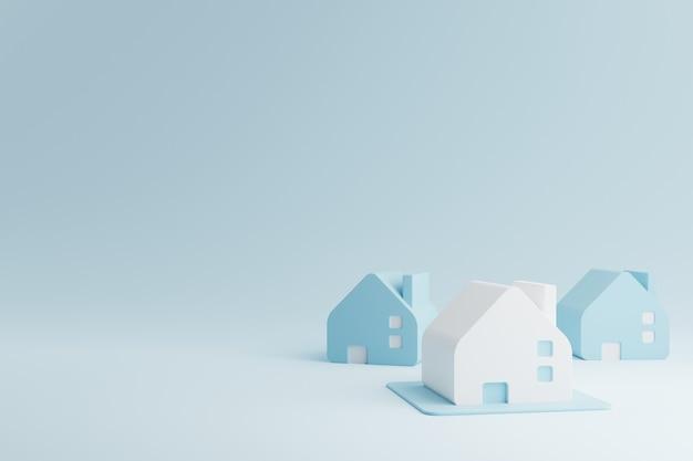 Blauwe en witte huizen. onroerend goed bedrijfsinvesteringen en eigendommen concept. 3d-weergave