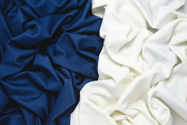 Blauwe en witte stof achtergrond