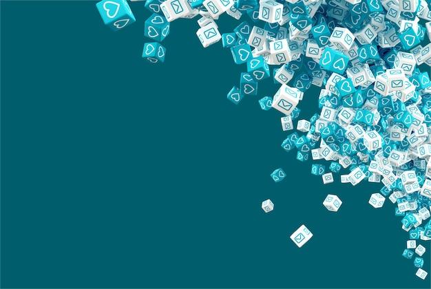 Blauwe en witte vallende kubussen met pictogrammen die sociale voorzien van een netwerkpictogrammen simuleren