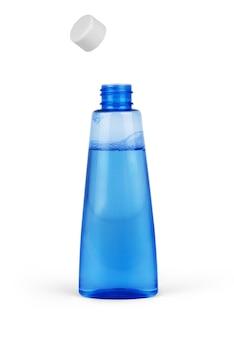 Blauwe fles cosmetische verpakking van toner geïsoleerd op een witte achtergrond