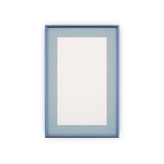 Blauwe fotolijsten en afbeeldingen op wit wordt geïsoleerd.