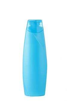 Blauwe geïsoleerde shampoofles