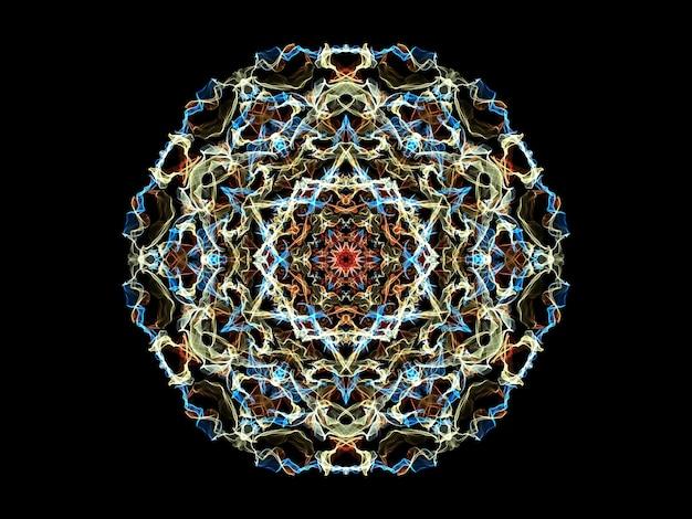 Blauwe, gele en rode abstracte vlam mandala bloem, neon sier ronde bloemmotief op zwart