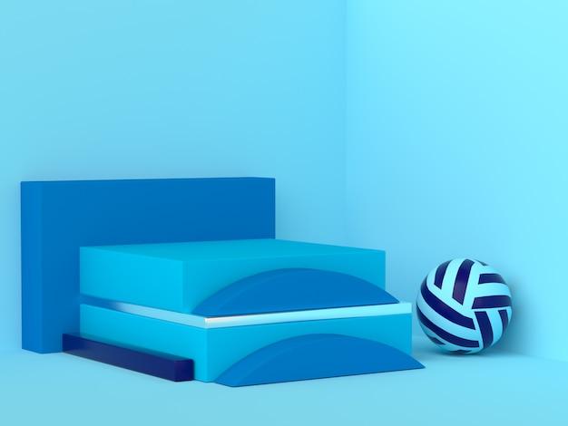 Blauwe geometrische vorm ingesteld abstracte hoek scène 3d-rendering