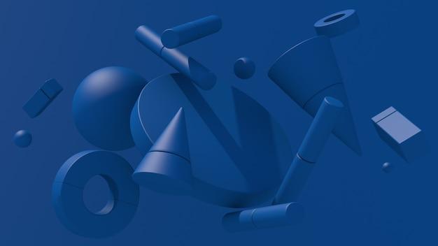 Blauwe geometrische vormen. abstracte illustratie, 3d-rendering.