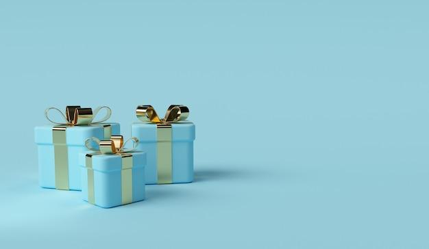 Blauwe geschenkdoos scène