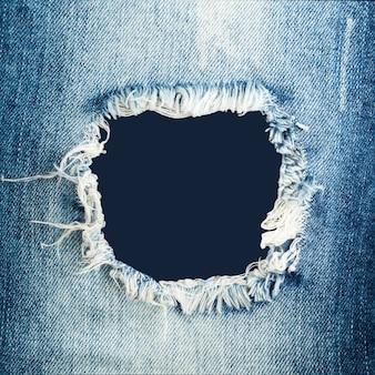 Blauwe gescheurde denim jeanstextuur met ruimte voor tekst