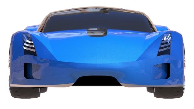 Blauwe glanzende conceptuele sportwagen van de toekomst