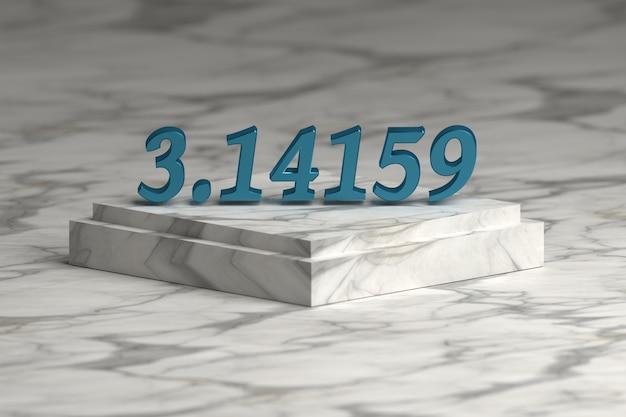 Blauwe glanzende metalen cijfers van pi-nummers op marmeren voetstuk podium. wiskunde concept.