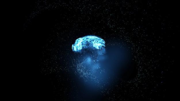 Blauwe gloeiende abstractie op een zwarte achtergrond ruimte abstractie