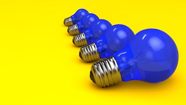 Blauwe gloeilampen op een gele achtergrond