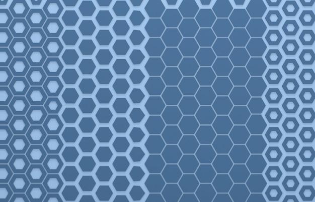 Blauwe grafische muur, zeshoek grafische achtergrond