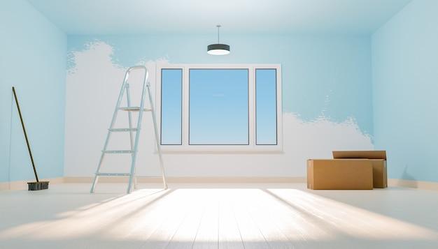 Blauwe half geschilderde nieuwe huiskamer met trappen en verhuisdozen met een raam dat het verlicht. 3d-weergave