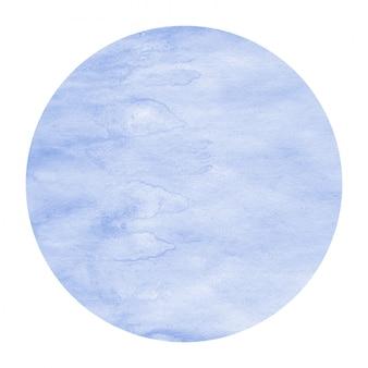 Blauwe hand getekend aquarel circulaire frame achtergrondstructuur met vlekken