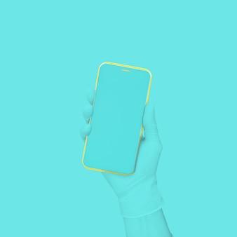 Blauwe hand met telefoon