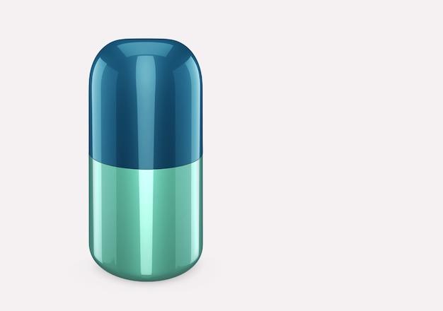 Blauwe hemel douchegel fles mockup geïsoleerd van achtergrond: douchegel metalen pakketontwerp. blanco sjabloon voor hygiëne, medische, lichaams- of gezichtsverzorging. 3d illustratie
