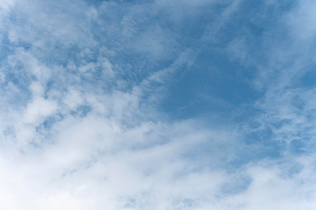 Blauwe hemel met verspreide witte wolken