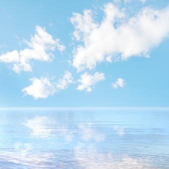 Blauwe hemel weerspiegeld op het zeeoppervlak