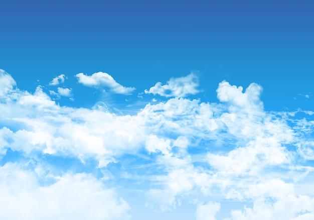 Blauwe hemelachtergrond met pluizige witte wolken
