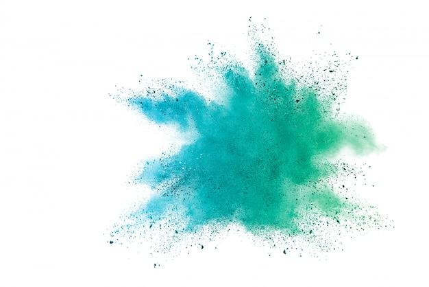 Blauwe het poederexplosie van de hemelkleur op witte achtergrond