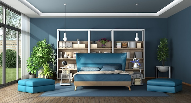 Blauwe hoofdslaapkamer in een moderne villa