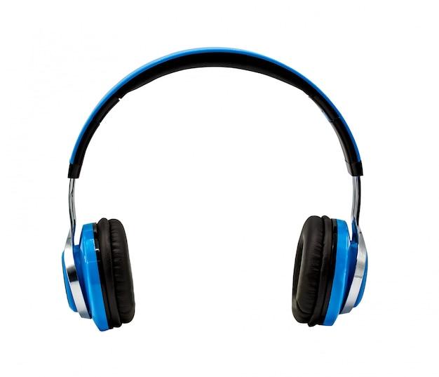 Blauwe hoofdtelefoon die op witte achtergrond met het knippen van weg wordt geïsoleerd