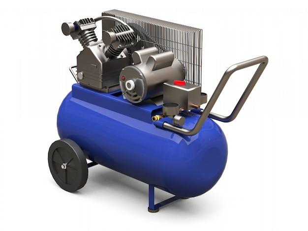 Blauwe horizontale luchtcompressor geïsoleerd. 3d-weergave