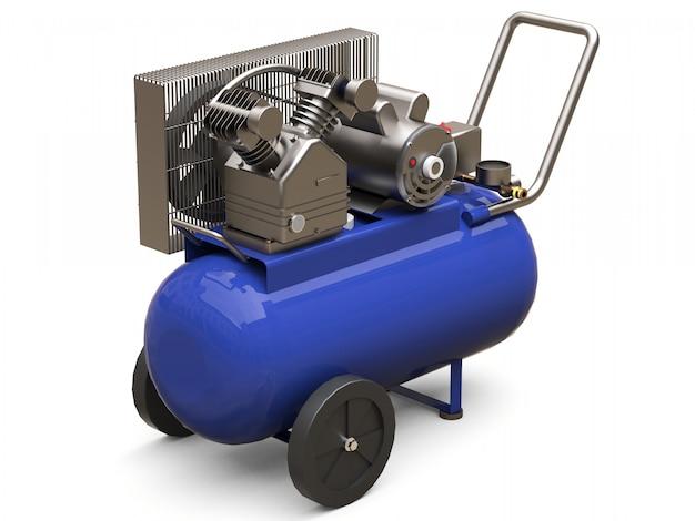 Blauwe horizontale luchtcompressor geïsoleerd op een witte ondergrond