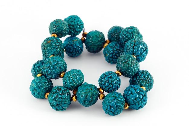 Blauwe houten kralen armband