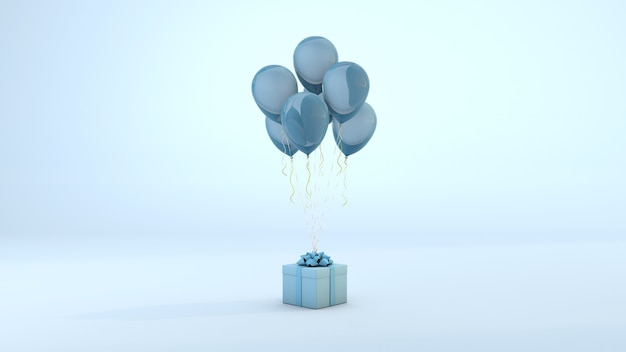 Blauwe huidige doos drijvend door ballonnen op pastel achtergrond. 3d-weergave