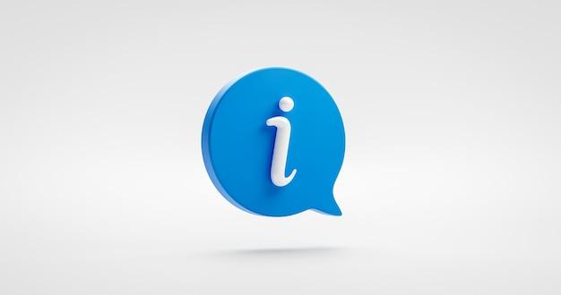 Blauwe informatie pictogram teken of info illustratie zeepbel symbool ontwerp en website internet knop geïsoleerd op een witte achtergrond met communicatie zakelijke grafisch element. 3d-weergave.