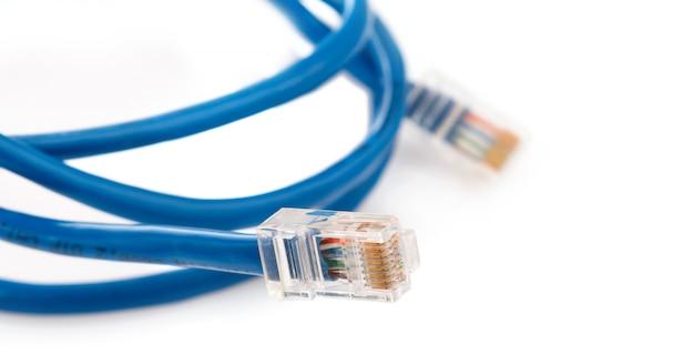Blauwe internetkabel