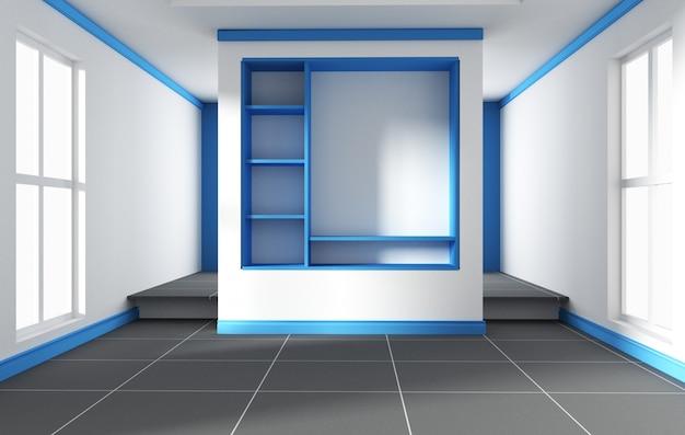 Blauwe kamer - mooie kamer, lege ruimte, modern licht interieur. 3d-rendering