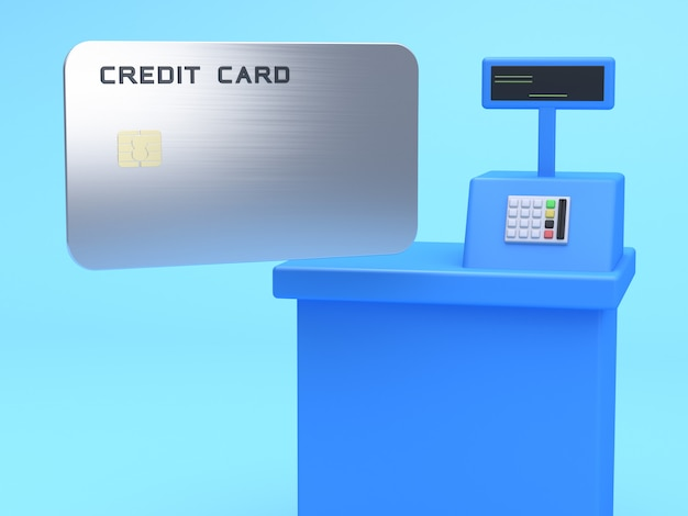 Blauwe kassamachine en lege creditcard