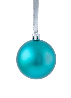 Blauwe kerst ornament geïsoleerd op een witte achtergrond